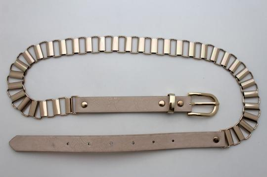 Alwaystyle4you Women Cream Ivory Belt Hip Narrow Skinny Gold Metal Chain Links Buckle Image 6