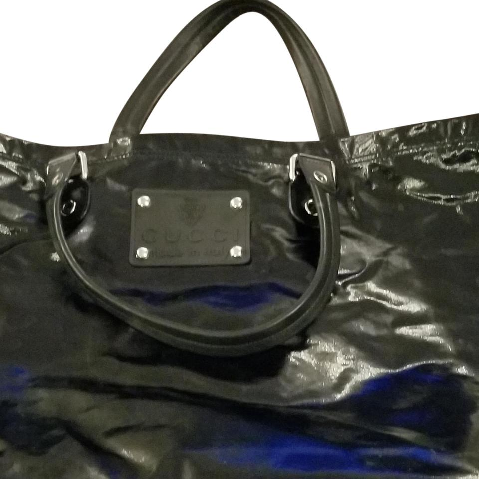dfac07dd8e26 Gucci Extra Large Tote Black Patent Leather Weekend/Travel Bag - Tradesy