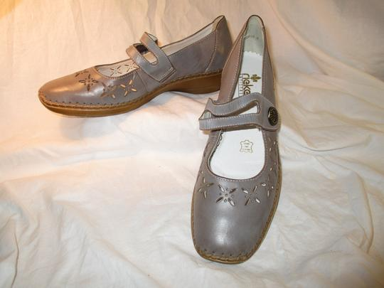 Rieker Leather Mary Jane 001 grey Flats Image 11