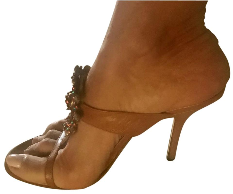 f44ba53aacac Brown London Tan Leather High Heel with Rhinestones Medallion Sandals. Size   US 8 Regular (M ...