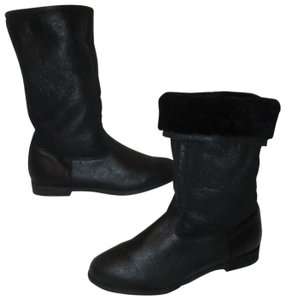 KMB Leather Shearling Winter 003 black Boots