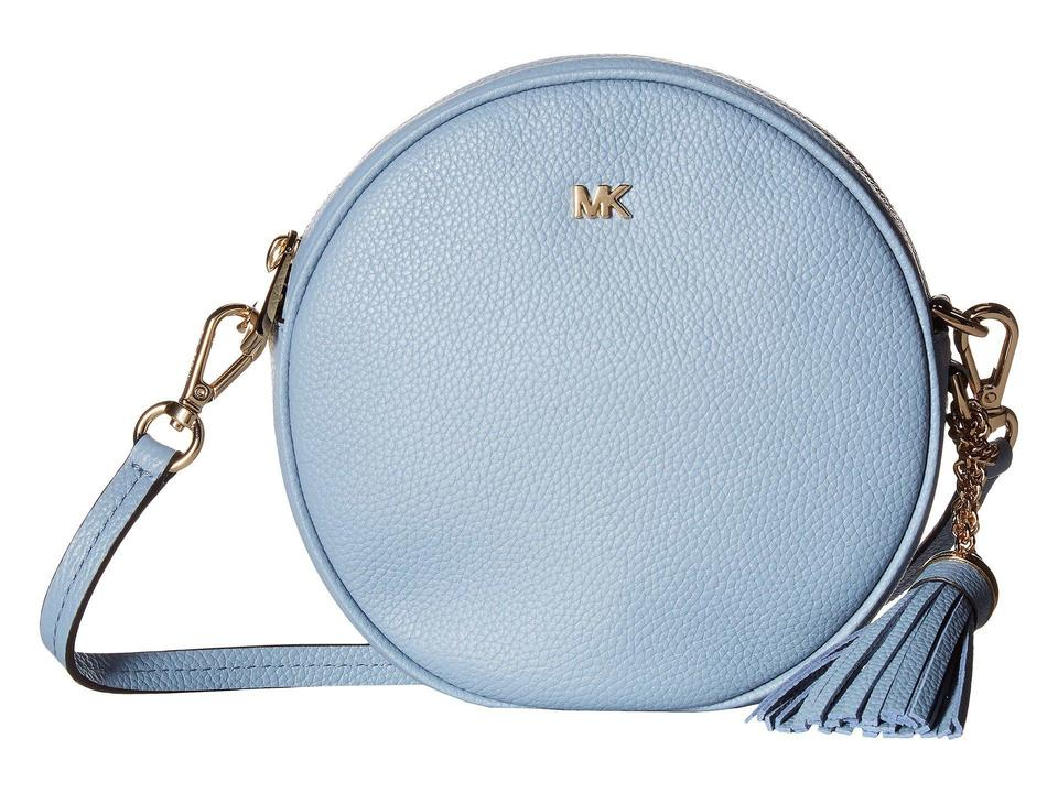 8676f4cb830d Michael Kors Medium Circle Canteen Pale Blue/Gold Leather Cross Body ...