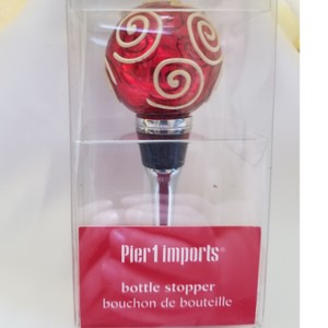 Pier 1 Imports Red Glass Bottle Stopper Barware