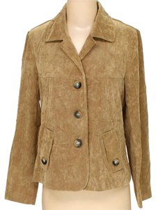 RQT Suede Leather Look Blazer beige tan light brown Jacket