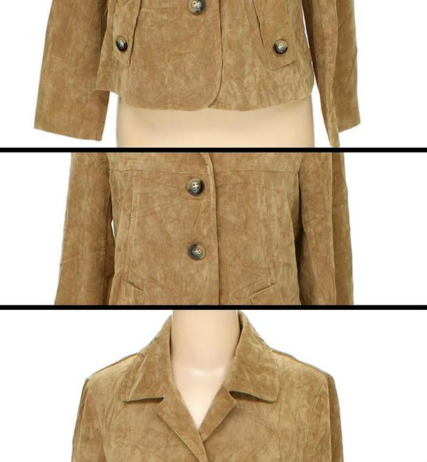 RQT Suede Leather Look Blazer beige tan light brown Jacket Image 2
