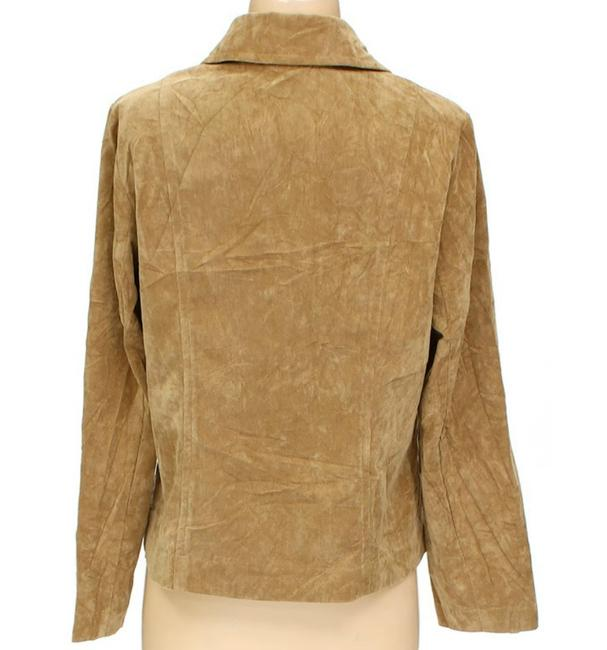 RQT Suede Leather Look Blazer beige tan light brown Jacket Image 4