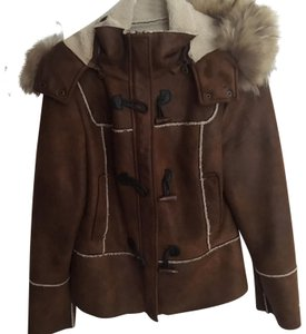 Lord & Taylor Toggle Buttone Removable Fur Hood Brown Leather Jacket