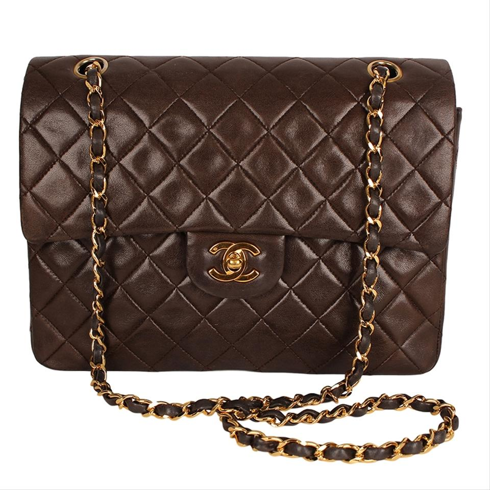 e631bbd6ace4 Chanel Mademoiselle Double Flap 25 Quilted Cc Logo 6616 Brown Lambskin  Leather Shoulder Bag