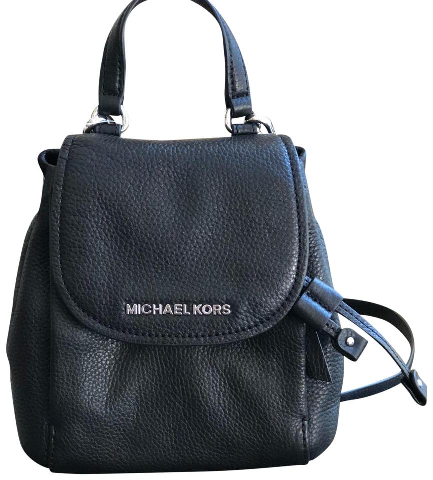 87268181ca90 Michael Kors Riley Small Flap Pack Handbag Black Pebbled Leather Cross Body  Bag