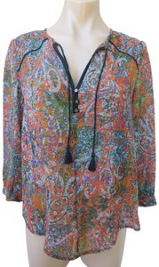Edme & Esyllte Anthropologie Poly Crepe Peasant Long Sleeve Size 6 Top Multicolor