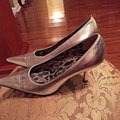 Dolce&Gabbana Leather Pointy Silver Pumps Image 2