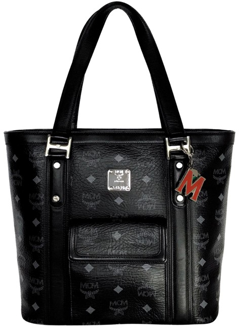 Item - One Pocket Charmed Black & Gray Leather Tote