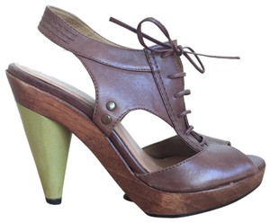 KG Kurt Geiger Wood Heel Made In Brazil Brown and Green Platforms