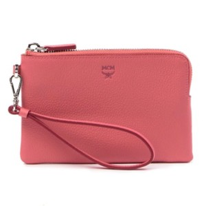 MCM Milla Leather Clutch Wristlet in Coral Blush