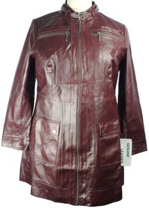 Jessica London Genuine Leather Lined Car Length Trench Coat