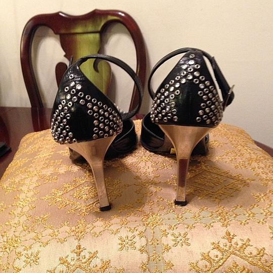 Mario Bologna Leather Silver Studs Black Pumps Image 2
