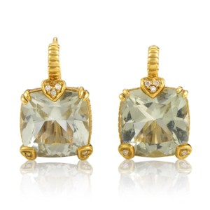 Judith Ripka 18K Yellow Gold Diamond & Prasiolite Stone Dangling Earrings