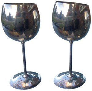 Bellini set of 2 Bellini silver large tall goblets