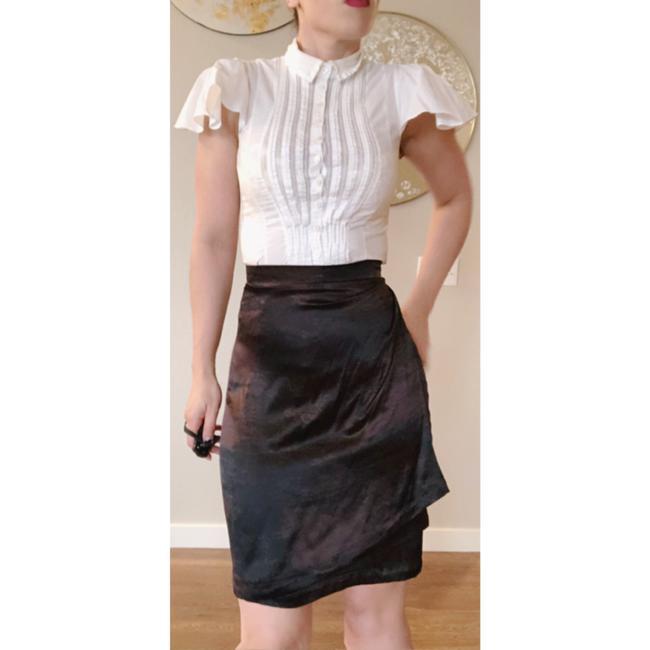 Saint Laurent Ysl Silk Wrap Skirt Brown Black Image 1