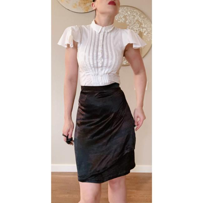 Saint Laurent Ysl Silk Wrap Skirt Brown Black Image 2