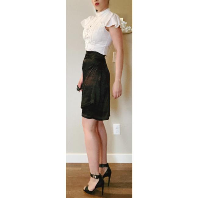 Saint Laurent Ysl Silk Wrap Skirt Brown Black Image 4