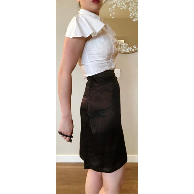 Saint Laurent Ysl Silk Wrap Skirt Brown Black Image 5
