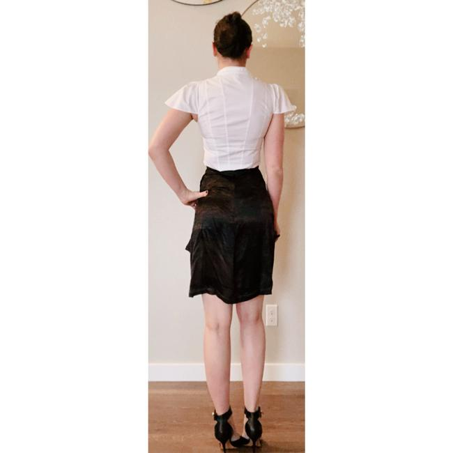 Saint Laurent Ysl Silk Wrap Skirt Brown Black Image 6