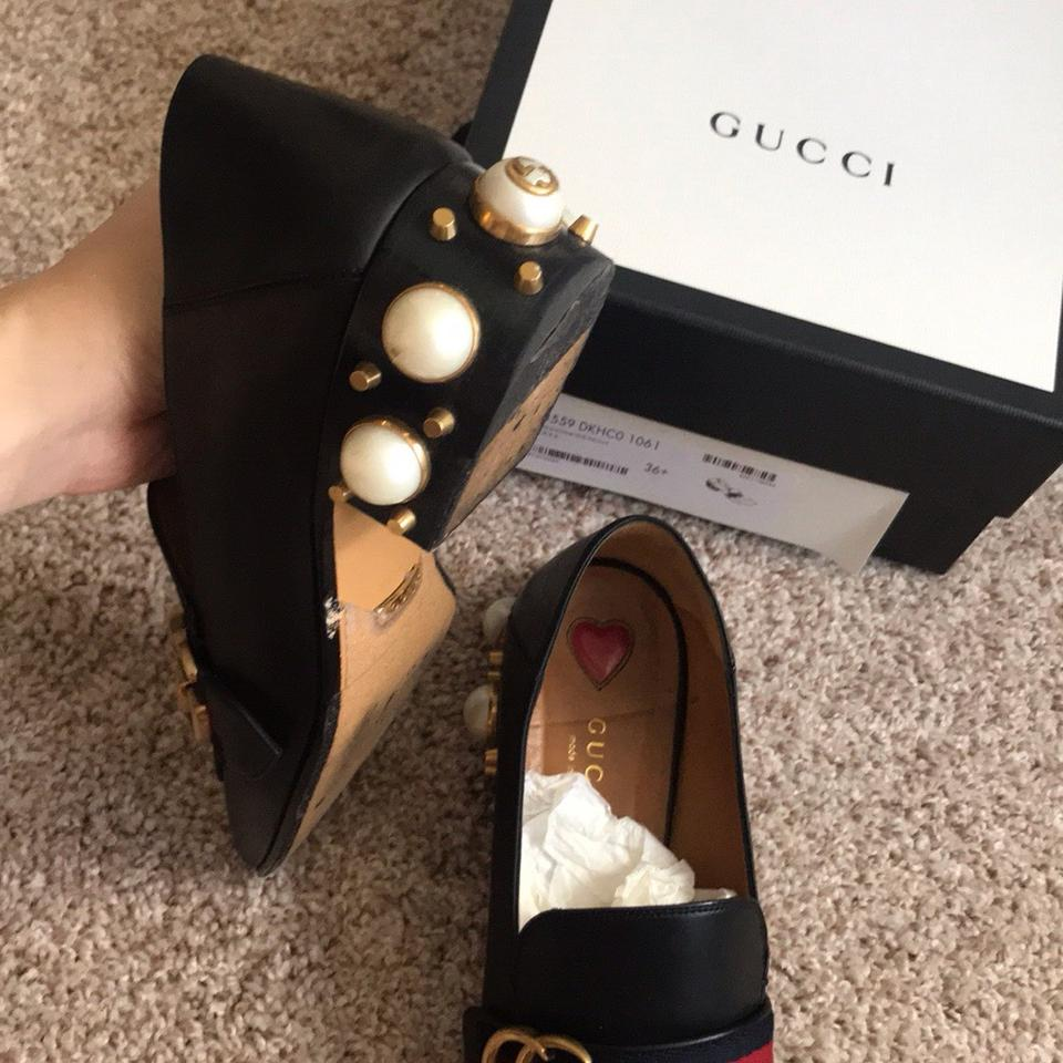 87d0bc12181 Gucci Black Faux Pearl Embellished Leather Loafers Flats Size US 6.5 ...