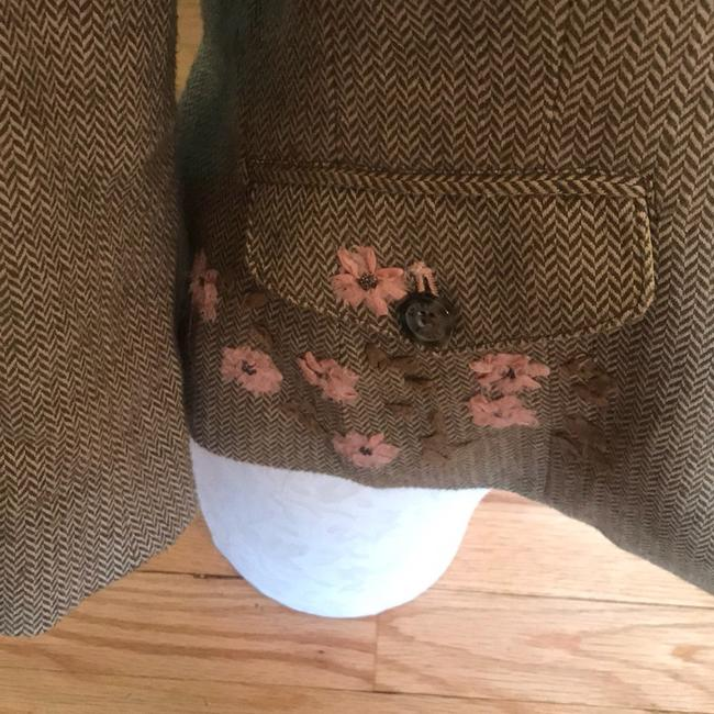 American Eagle Outfitters Olive Green/Tan/Pink Blazer Image 4