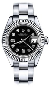 Rolex Men's Rolex 36mm Datejust Black Color Dial with 8+2 Diamond Accent