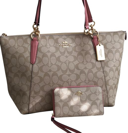 Preload https://img-static.tradesy.com/item/24100294/coach-ava-in-signature-wallet-vintage-pinklight-khaki-coated-canvas-tote-0-1-540-540.jpg
