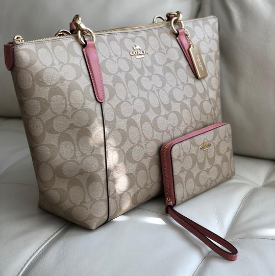 Coach Tote in Vintage Pink/Light Khaki Image 1