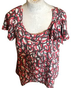 Elle Top Red/Coral, Olive Green/Taupe and White