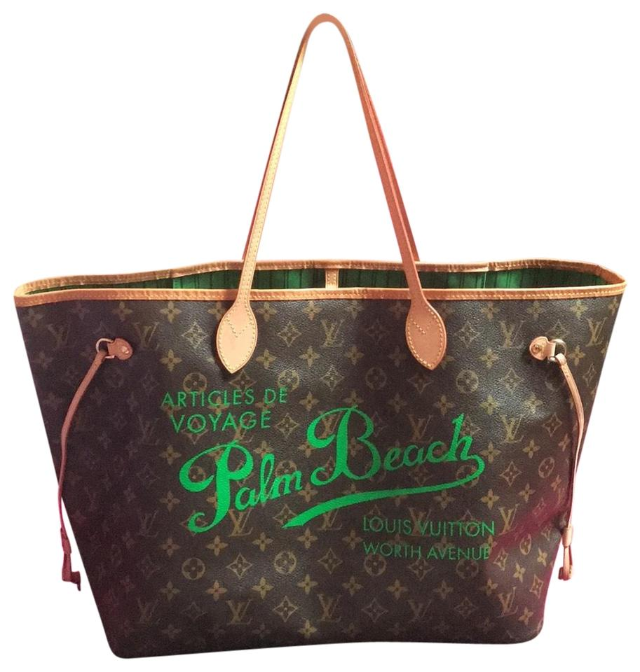 abac9e4ff777 Louis Vuitton Neverfull Gm Collectors Palm Beach Green Monogram Sold ...