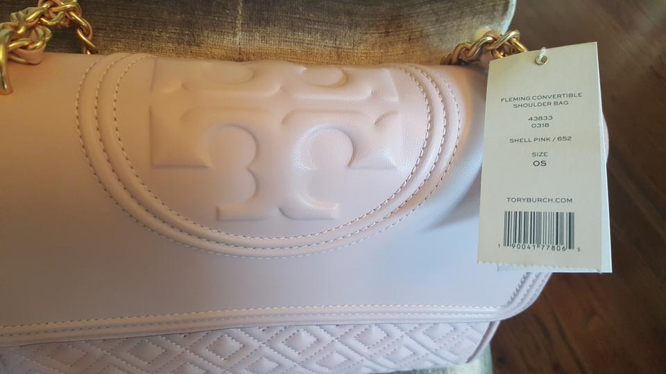 fccf9c32c3f2 Tory Burch Fleming Convertible Shell Pink Blush Leather with Quikted ...