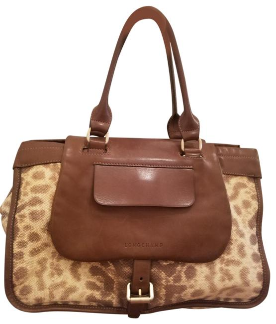 Item - Beige/Brown/Cream Lambskin Leather Satchel