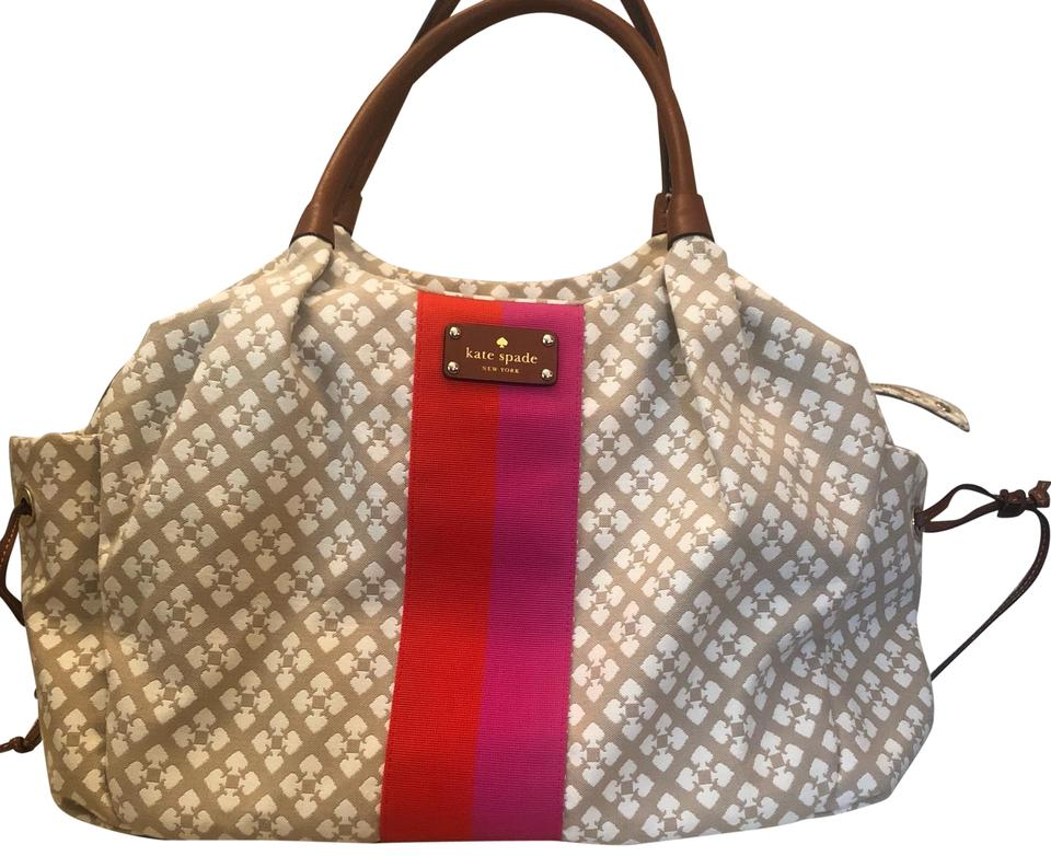 948a8c2b295e Kate Spade Stevie In Ivory Pink Red Stripe Center Canvas Diaper Bag ...
