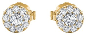 Elizabeth Jewelry 10Kt Yellow Gold 0.33 Ct Halo Diamond Stud Earrings