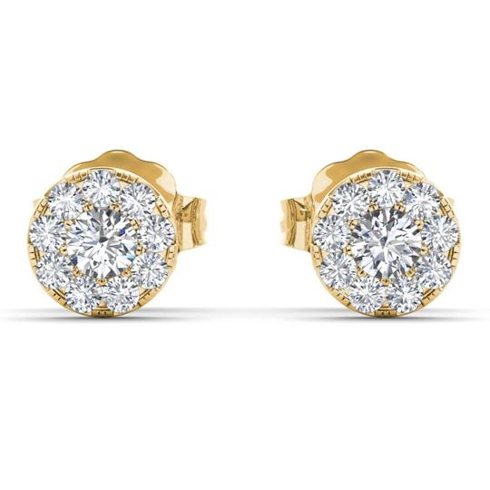 Elizabeth Jewelry 10Kt Yellow Gold 0.33 Ct Halo Diamond Stud Earrings Image 1