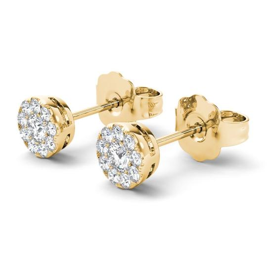 Elizabeth Jewelry 10Kt Yellow Gold 0.33 Ct Halo Diamond Stud Earrings Image 2