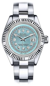 Rolex Men's Rolex 36mm Datejust Ice Blue String Diamond Accent Dial