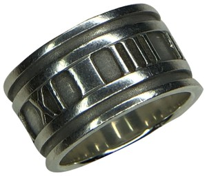 Tiffany & Co. ATLAS Roman Numeral Wide Band Ring in Sterling Silver 4.75