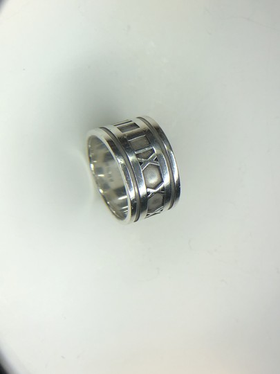 Tiffany & Co. ATLAS Roman Numeral Wide Band Ring in Sterling Silver 4.75 Image 2