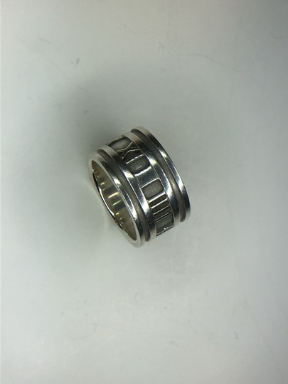 Tiffany & Co. ATLAS Roman Numeral Wide Band Ring in Sterling Silver 4.75 Image 3