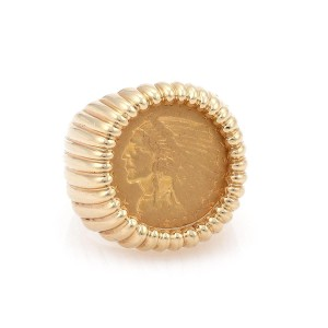 Other Estate 22k Indian Head Coin 14k Yellow Gold Fancy Fluted Men's Ring