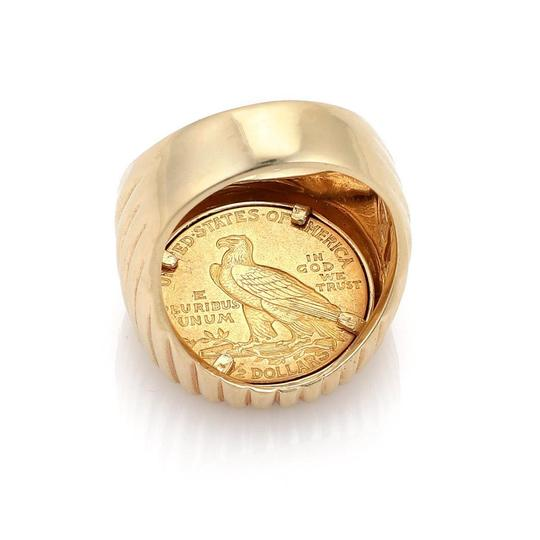 Other Estate 22k Indian Head Coin 14k Yellow Gold Fancy Fluted Men's Ring Image 2