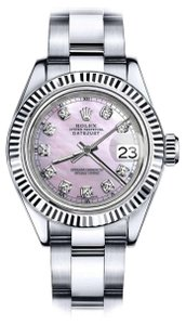 Rolex Men's Rolex 36mm Datejust Pink MOP Mother Of Pearl Dial Diamond Accent