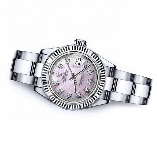 Rolex Men's Rolex 36mm Datejust Pink MOP Mother Of Pearl Dial Diamond Accent Image 1