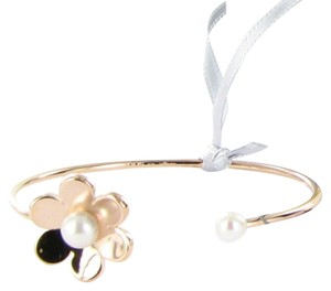 TOUS Vermeil Pink Happy Moments Pearl Flower Cuff Bracelet Sterling