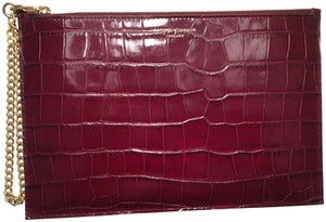 Aspinal of London Pouch Clutch Burgundy Wristlet in bordeaux